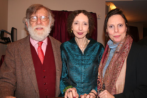 Joyce Carol Oates at the reading of Wild Nights with Charles Gross, Professor of Neuroscience at Princeton University, and Emily Mann, Artistic Director of the McCarter Theatre