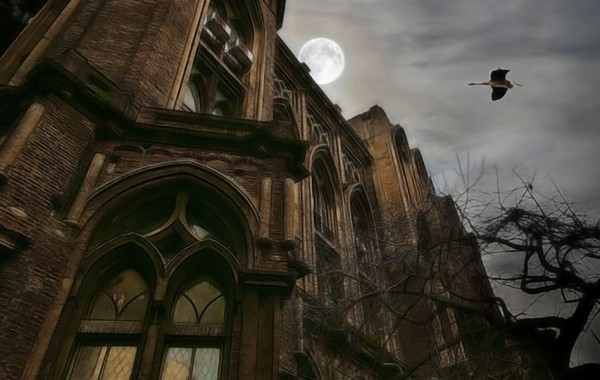 Gothic House with full moon